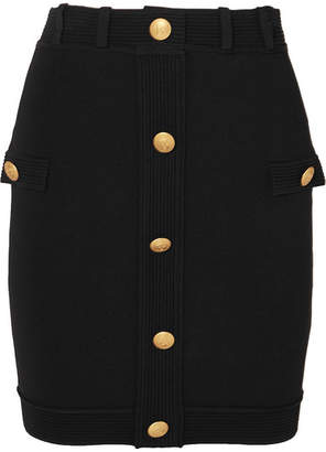 Pierre Balmain Button-embellished Stretch-knit Mini Skirt - Black