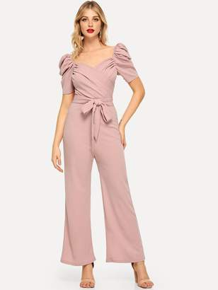 Shein Gathered Sleeve Surplice Neck Ruched Jumpsuit