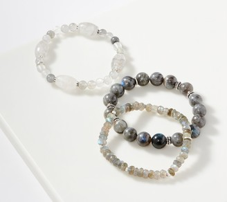 Set of 3 Gemstone Stretch Bracelets Sterling Silver