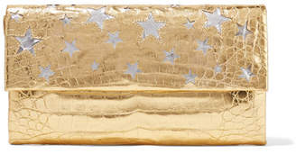 Nancy Gonzalez Cutout Metallic Crocodile Clutch - Gold
