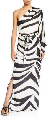 Melissa Odabash One-Shoulder Printed Maxi Caftan