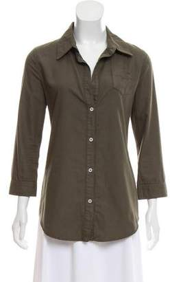 Elizabeth and James Three-Quarter Sleeve Button-Up Top