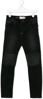 Philipp Plein Junior studded knee patch jeans