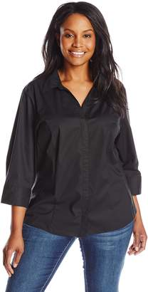 Lee Indigo Women's Plus-Size Bella Easy Care 3/4 Sleeve Woven Shirt