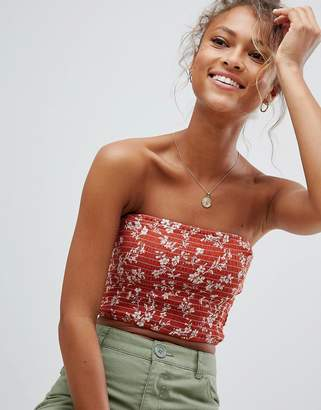 Wednesday's Girl Shirred Bandeau Top In Rust Floral
