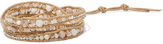 Chan Luu Leather And Silver-tone Multi-stone Wrap Bracelet - Beige