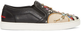 Dolce & Gabbana Black Soldier Slip-On Sneakers $1,145 thestylecure.com