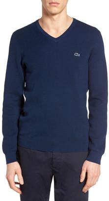 Lacoste Fancy Stitch Slim Fit Knit Sweater $185 thestylecure.com