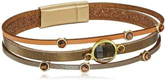 Panacea Womens Multi Row Leather And Smokey Bracelet