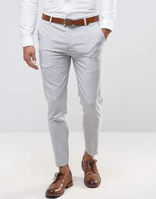 Asos Super Skinny Crop Smart Trousers In Pale Grey