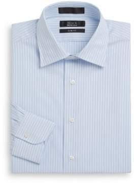 Saks Fifth Avenue BLACK Satin Striped Cotton Slim-Fit Dress Shirt