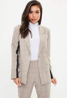 Missguided Grey Stripe Prince of Wales Button Blazer, Pink