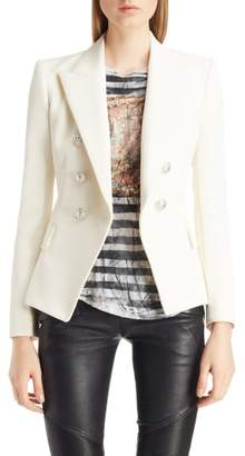 Balmain Double Breasted Wool Blend Blazer