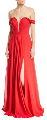 Faviana Off-the-Shoulder Draped Chiffon Corset Gown