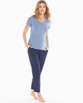 Cool Nights Ankle Length Pajama Set Heart Dot Mini Blue Stone