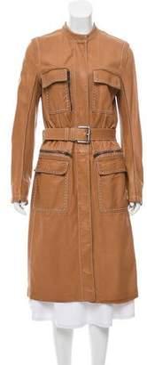 Saint Laurent Leather Long Coat