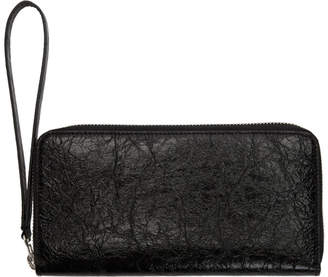 MM6 MAISON MARGIELA Black Crinkled Continental Zip Wallet