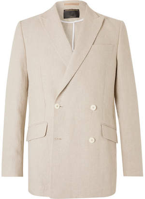 Favourbrook Stone Evering Double-breasted Linen Suit Jacket - Off-white