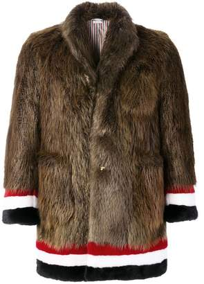 Thom Browne Painted Beaver Fur Sack Overcoat