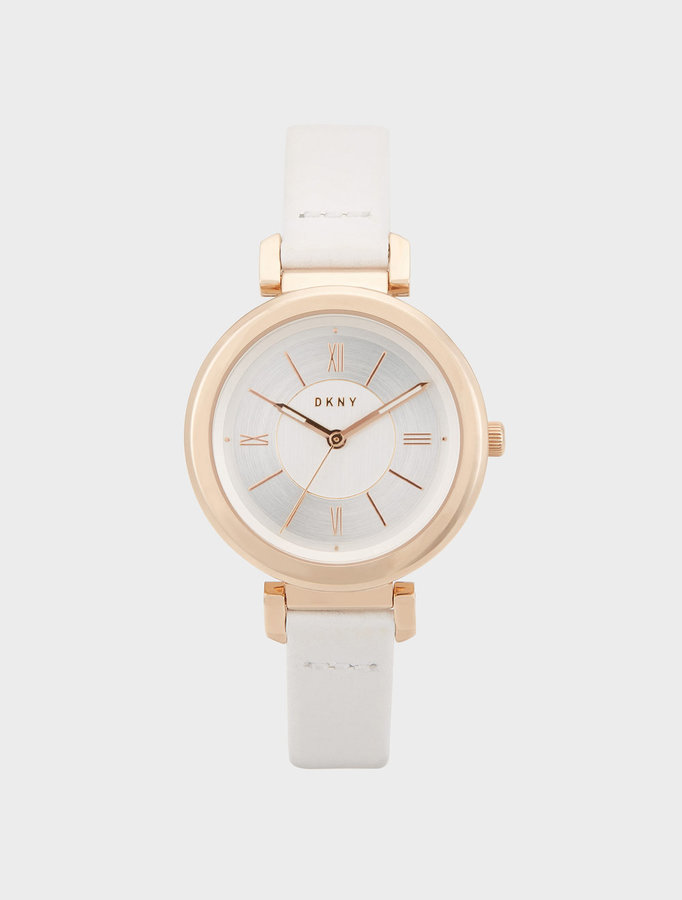 DKNY Ellington 34mm White Leather With Rose Gold-Tone Watch