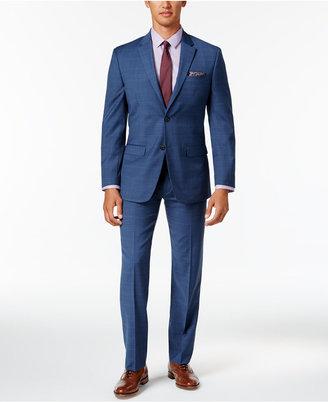 Tommy Hilfiger Men's Slim-Fit Stretch Performance Medium Blue Plaid Suit $650 thestylecure.com