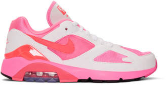 Comme des Garcons White and Pink Nike Edition Air Max 180 Sneakers