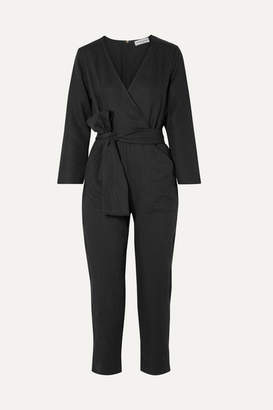 Apiece Apart Morena Wrap-effect Tencel And Linen-blend Jumpsuit - Black