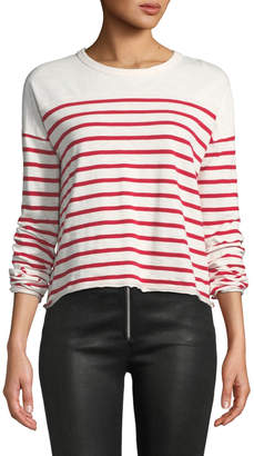 Rag & Bone Halsey Crewneck Long-Sleeve Striped Cotton Tee