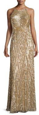 Aidan Mattox Metallic Beaded Gown $495 thestylecure.com