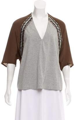 Dries Van Noten Silk-Blend Embellished Top