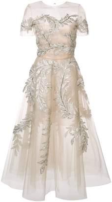 Oscar de la Renta lamé threadwork embroidered dress