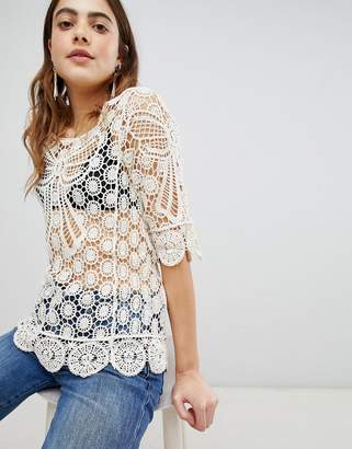 Brave Soul Crochet Top with Bow Details