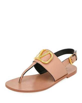 Valentino VLOGO Flat Leather Thong Sandals