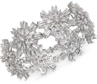 Badgley Mischka Silver-Tone Crystal Starburst Stretch Bracelet