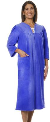 Silverts Disabled Elderly Needs Womens Warm Open Back Adaptive Fleece Robe - House Coat - 2XL
