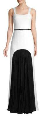 Halston Squareneck Pleated Colorblock Gown
