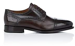 Barneys New York Men's Cap-Toe Burnished Leather Bluchers - Dk. brown