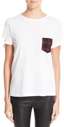 Women's Helmut Lang Plaid Pocket Slash Tee $160 thestylecure.com