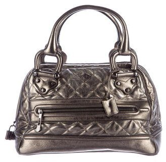 Burberry  Burberry Quilted Metallic Leather Handle Bag