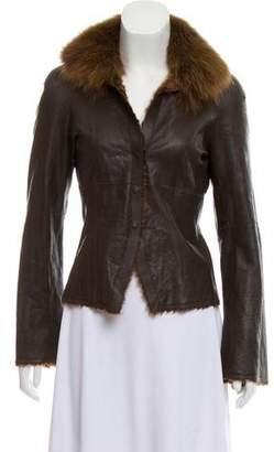 Akris Fur-Trimmed Leather Jacket