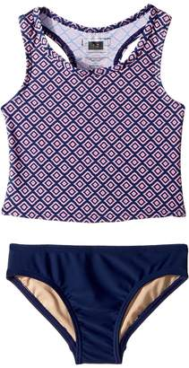 Toobydoo Navy Pink Pattern Tankini Girl's Swimwear Sets