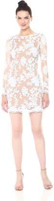 Dress the Population Women's Grace Long Sleeve Sequin Lace Mini Dress