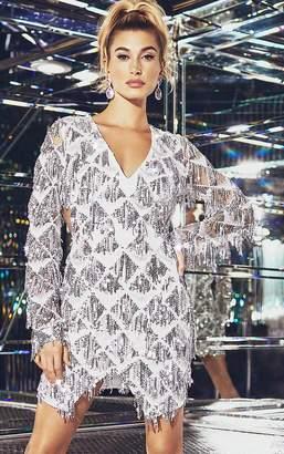 dd583ac65b4 PrettyLittleThing Silver Tassel Sequin Bodycon Dress