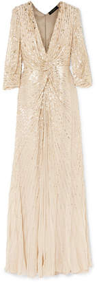 Jenny Packham Embellished Silk-georgette And Tulle Gown - Gold