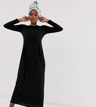Verona long sleeve jersey maxi dress with pleat in black