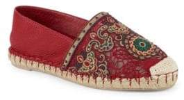 Valentino Embroidered Slip-On Espadrilles