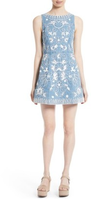 Women's Alice + Olivia Lindsey Embroidered A-Line Dress $485 thestylecure.com