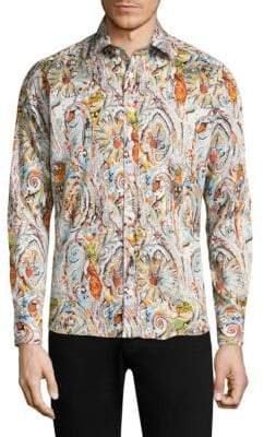 Etro Paisley Tattoo Cotton Button-Down Shirt