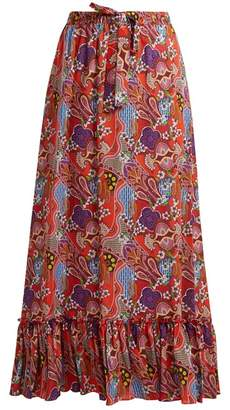 Etro Abstract Floral Print Ruffle Trim Cotton Skirt - Womens - Pink Multi