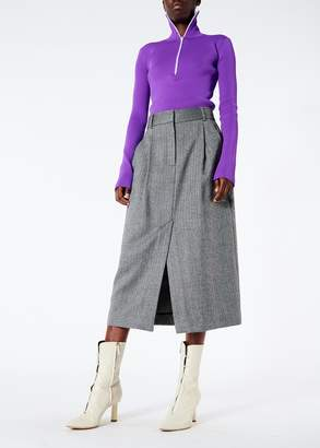 Tibi Herringbone Pleated Pencil Skirt